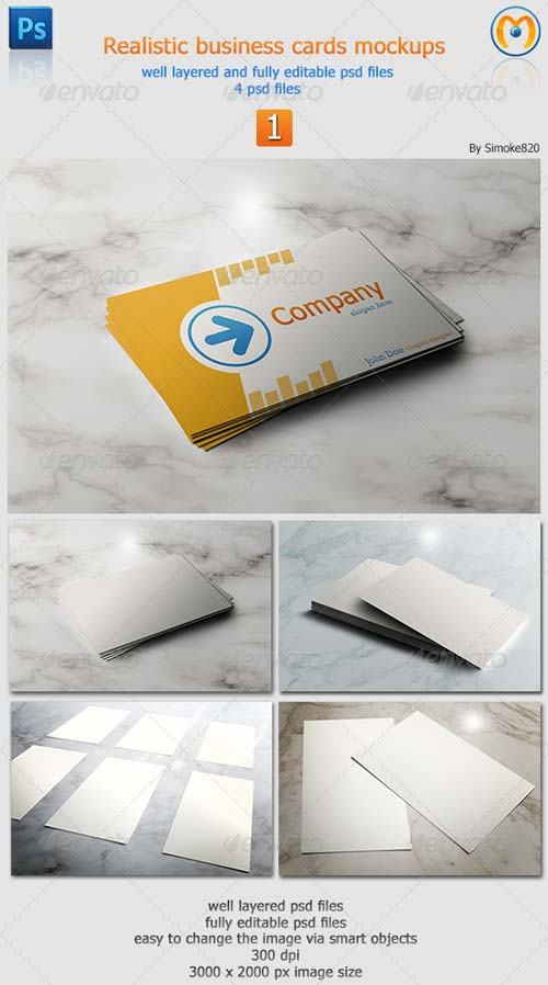 GraphicRiver Realistic Business Card Mockups V.1
