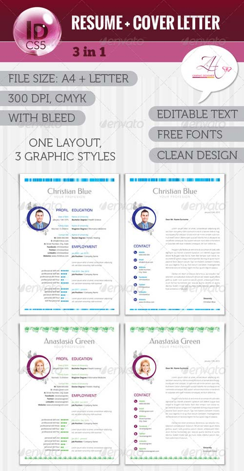 GraphicRiver Resume + Cover Letter (3 in 1)