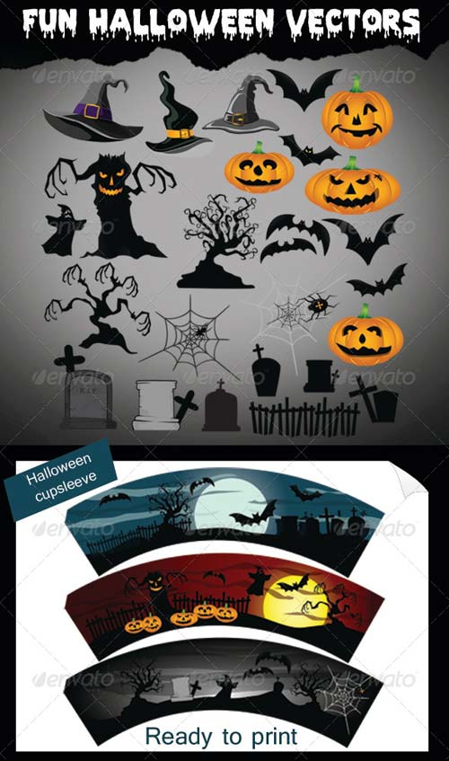 GraphicRiver Fun Halloween Vectors + CupSleeve Ready to Print