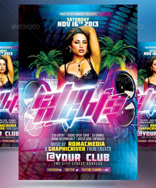 GraphicRiver Club Sessions l Sound Bass Latin Nights