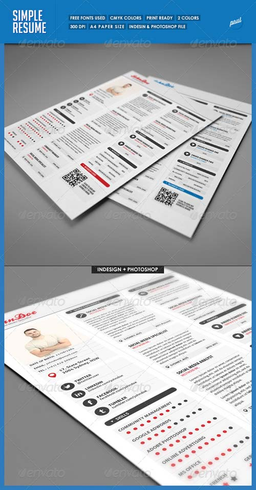 GraphicRiver Simple 3 Columns Resume