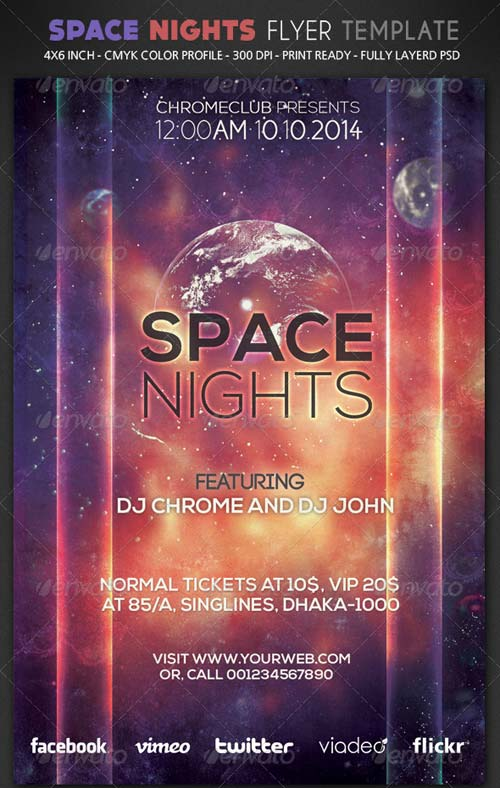 GraphicRiver Space Night Flyer Template