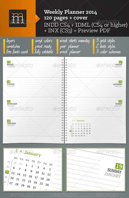 GraphicRiver Weekly Planner 2014