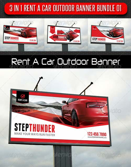 GraphicRiver 3 in 1 Rent A Car Outdoor Banner Bundle 01
