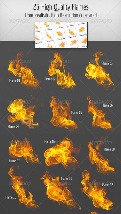 GraphicRiver 25 High Quality Hi-Res & Isolated Fire Flames