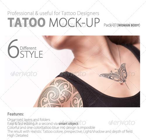 GraphicRiver Tattoo Mock up Pack01 (woman body)