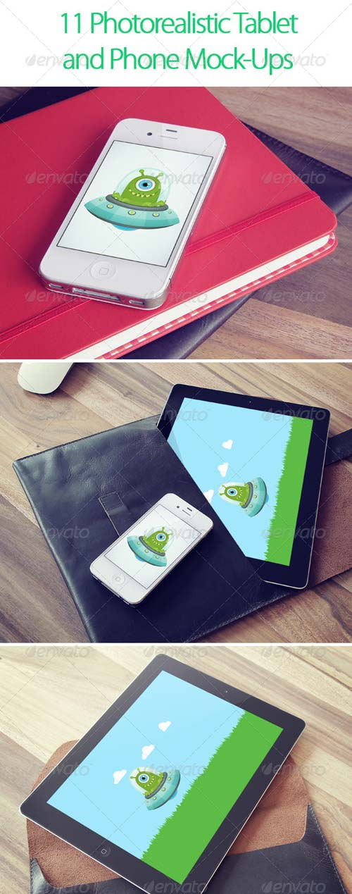 GraphicRiver 11 Photorealistic Tablet and Phone Mock-Ups