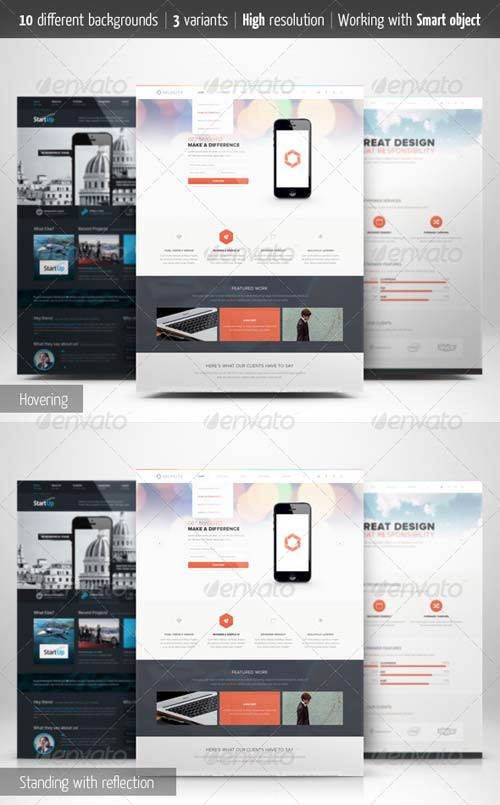 GraphicRiver Web Page Presentation Mockup with Studio Backdrops