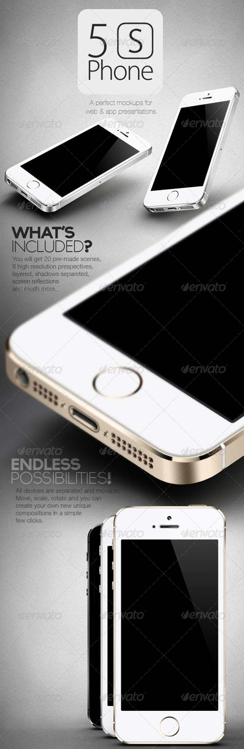 GraphicRiver New 5S Phone Mock Ups Set