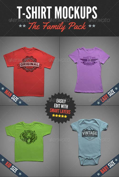 GraphicRiver T-Shirt Mock-Ups - Family Pack