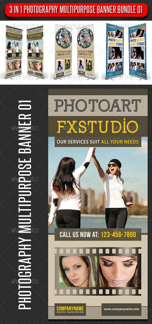 GraphicRiver 3 in 1 Photography Multipurpose Banner Bundle 01