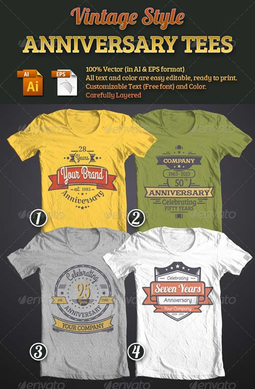 GraphicRiver Vintage Style Anniversary Tees Bundle