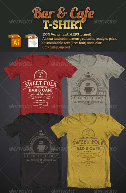 GraphicRiver Bar & Cafe T-Shirt