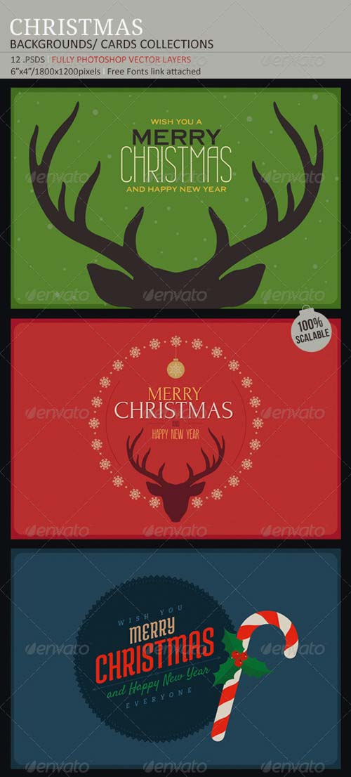 GraphicRiver Christmas Backgrounds-Cards Collection