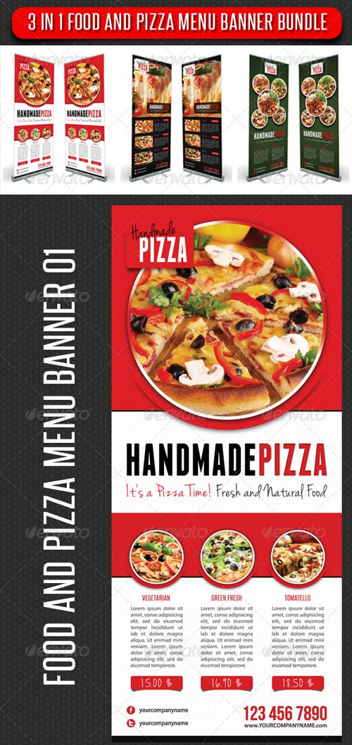 GraphicRiver 3 in 1 Food And Pizza Menu Banner Bundle
