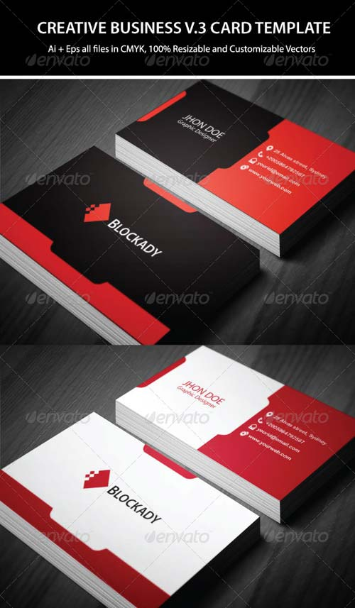 GraphicRiver 2 Colors Creative Business Card Template V.2