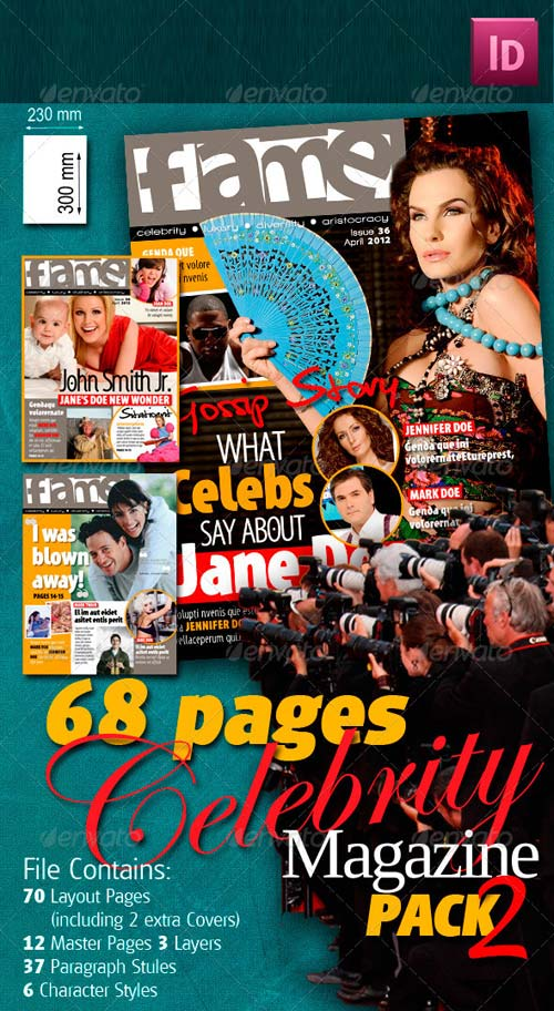GraphicRiver 68 Pages Celebrity Magazine Pack 2