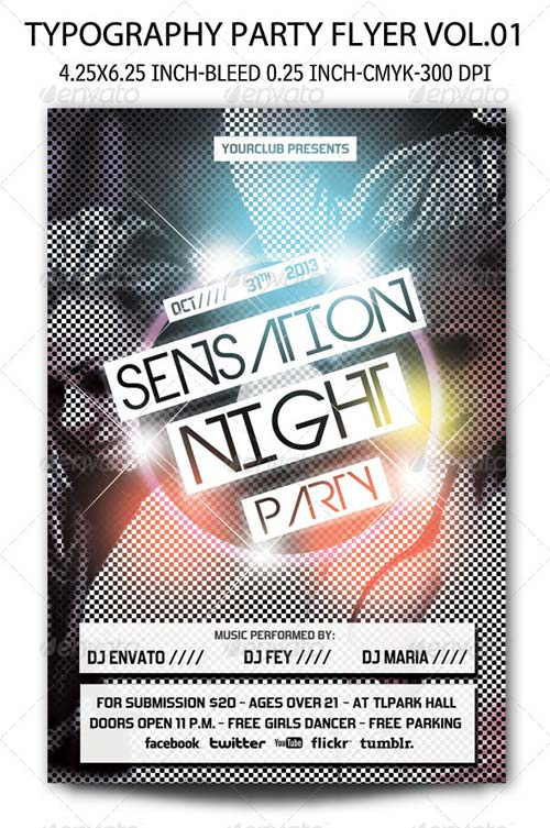 GraphicRiver Typography Party Flyer Vol.01