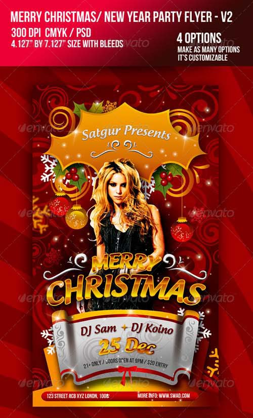 GraphicRiver Christmas / New Year Music Dance Party Night Flyer - V2
