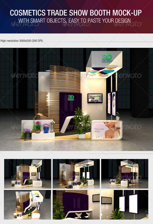 Simple Exhibition Stand Mockup : Graphicriver cosmetics exhibition booth mock up