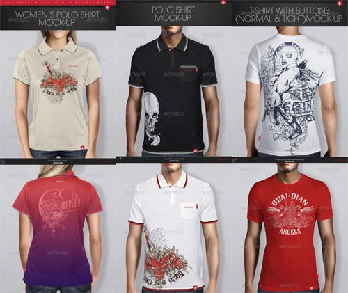 GraphicRiver Polo Shirts & T-Shirt with Buttons Bundle
