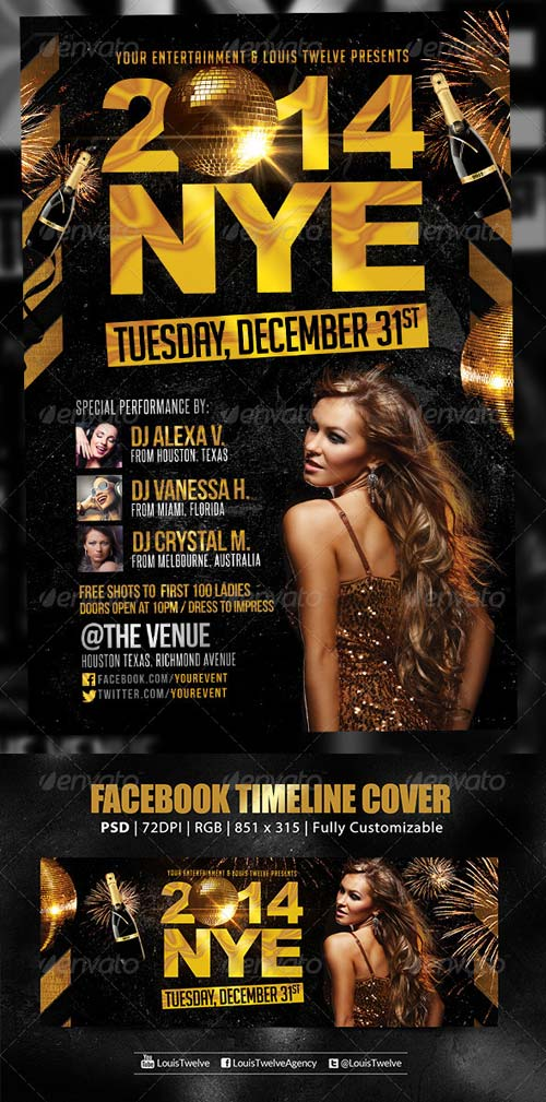 GraphicRiver NYE Party | Flyer + FB Cover