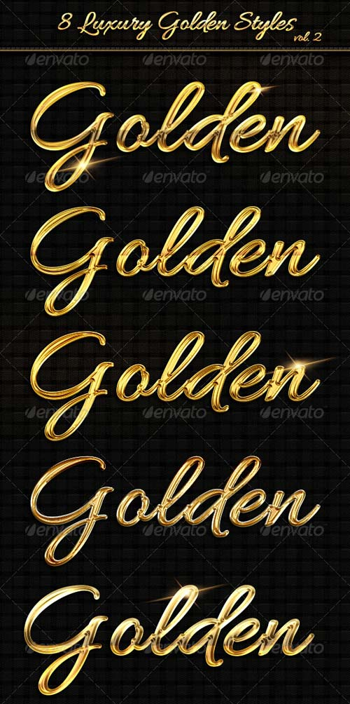 GraphicRiver 8 Luxury Golden Text Styles vol2