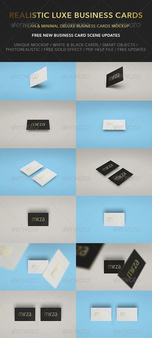 GraphicRiver Realistic Luxe Business Card Mock-Up