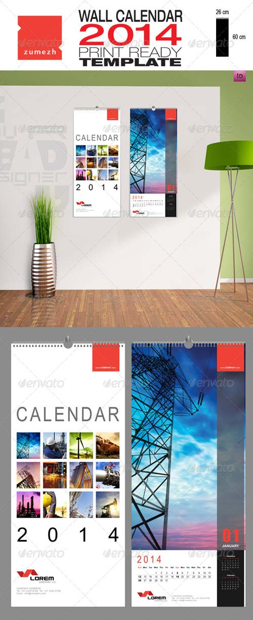 GraphicRiver Corporate Wall Calendar 2014 - Portrait
