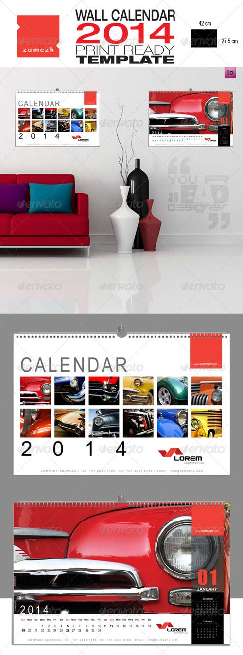 GraphicRiver Corporate Wall Calendar 2014 - Landscape