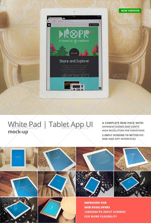 GraphicRiver White Pad | Tablet App UI Mock-Up