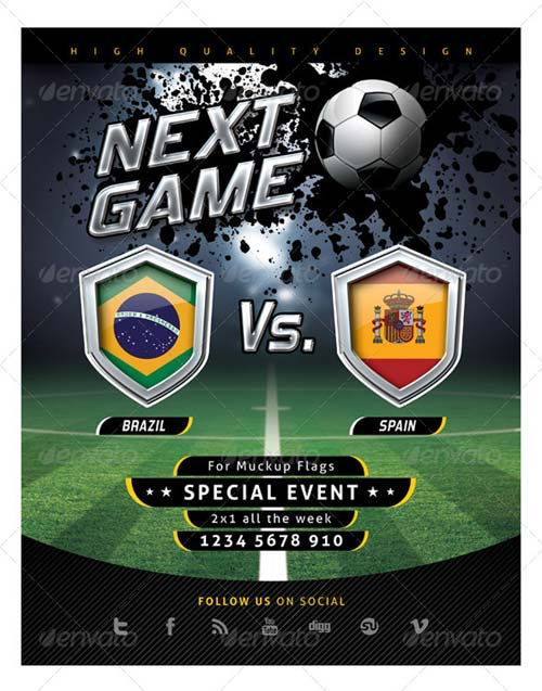 GraphicRiver Flyer Soccer Template with Mockup Shields