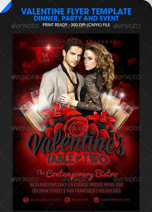 GraphicRiver Valentine Dinner, Party and Event Flyer