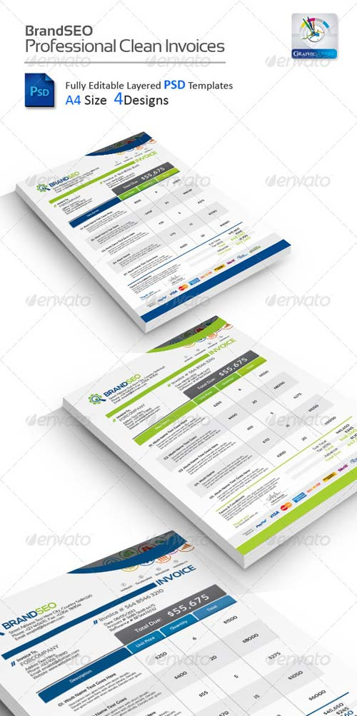 GraphicRiver BrandSEO Creative PSD Invoices