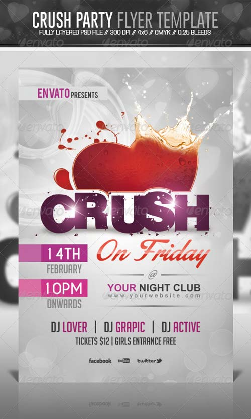 GraphicRiver Crush Valentine Party Flyer Template