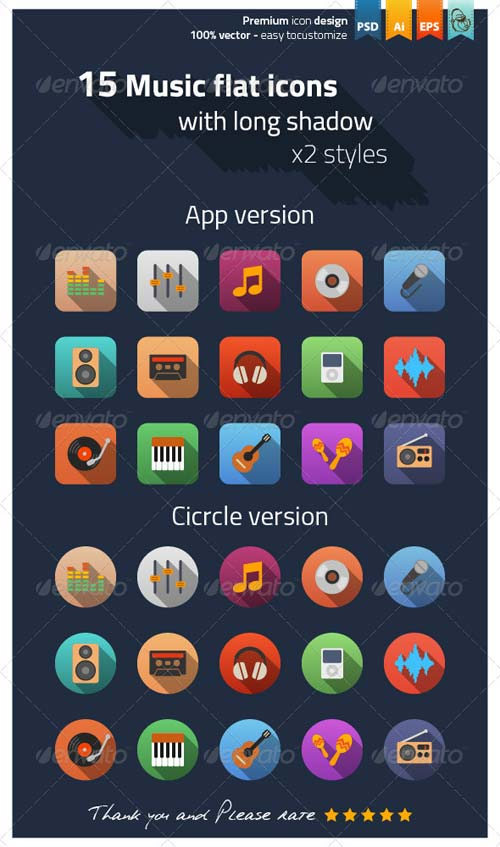 GraphicRiver Music Flat Icons