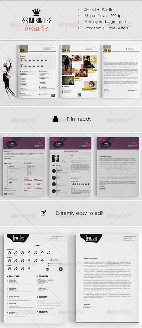 GraphicRiver Resume Bundle (6 in 1)