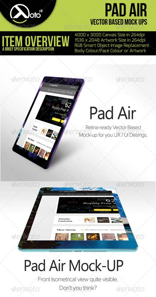 GraphicRiver Pad Air Vector Based Mock-up