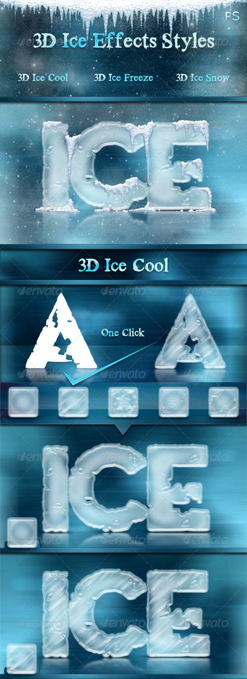 GraphicRiver 3D Ice Cool, Freeze & Snow Effects Styles