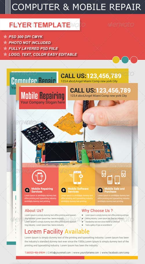 GraphicRiver Computer & Mobile Repair Flyer Template