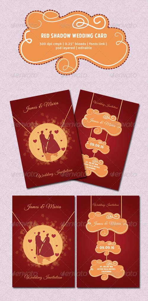 GraphicRiver Red Shadow Wedding Card