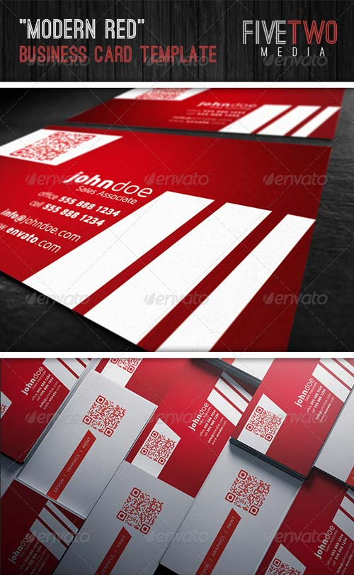 GraphicRiver Modern Red Business Card