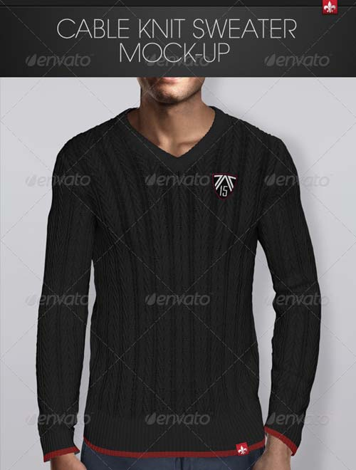 GraphicRiver Cable Knit Sweater Mock-up
