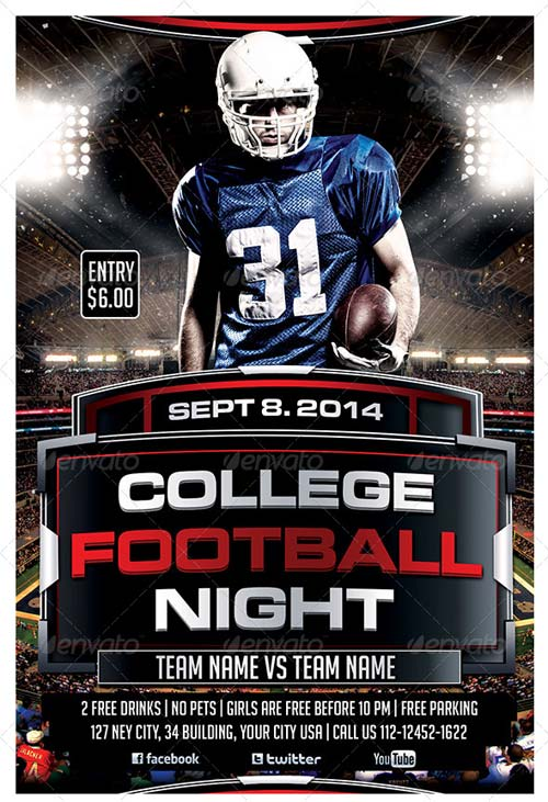 GraphicRiver College Football Night Party Flyer Template