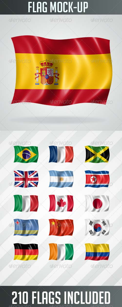 GraphicRiver 210 Flags MockUp in High Resolution
