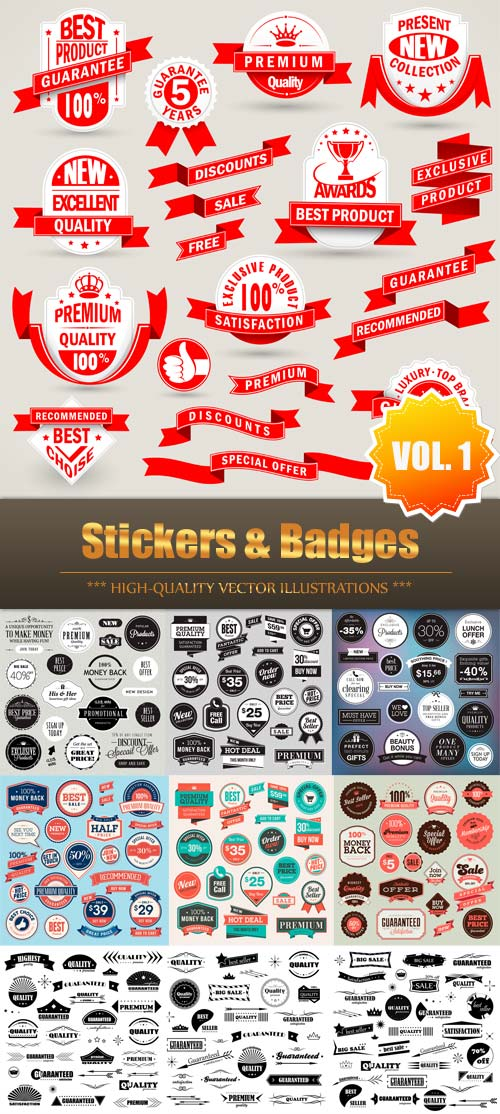 Stickers & Badges Vector Collection (Vol.1)