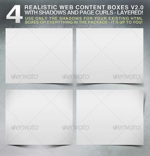 GraphicRiver 4 Realistic Web Content Boxes, Shadows & Pagecurls