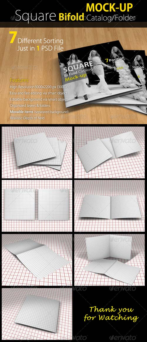 GraphicRiver Square Bi-fold Catalog/Brochure Mock Up