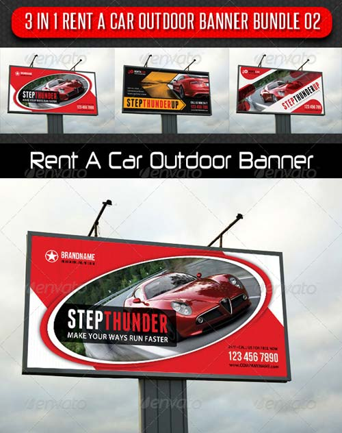 GraphicRiver 3 in 1 Rent A Car Outdoor Banner Bundle 02