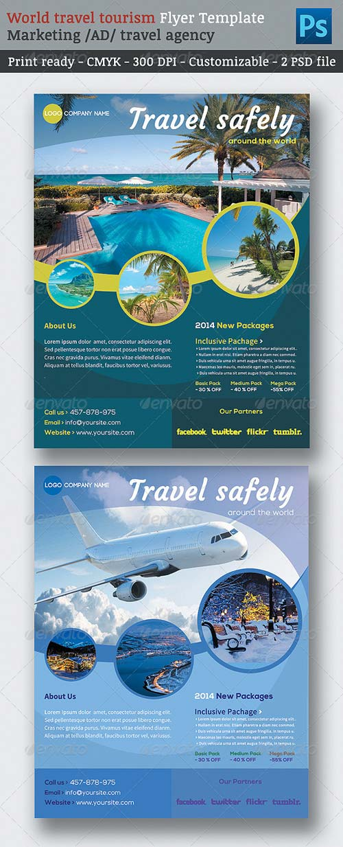 travel brochure design templates - graphicriver world travel tourism marketing flyer template